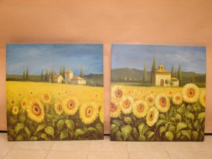 Obraz \country sunflowers\ 80x80/2dr.